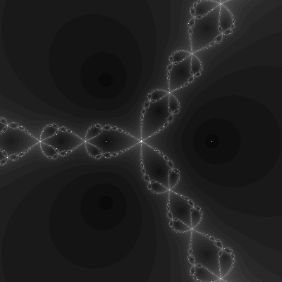Generalized Newton fractal. The background is largely a dark gray. The fractal part is a very light gray with three-fold rotational symmetry and looks less like a chain as the other, with larger links which are more teardrop shaped.